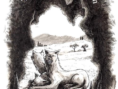 Kerberos schaut in seine Höhle
